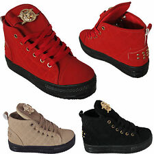 Ladies Flat Ankle High Hi Top Platform Lace Up Trainers Tiger Pumps Creeper Size