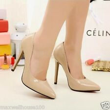 New Women's High Heels Pointed Toe Stilettos Pump Classic Shoes Beige Black 1nP