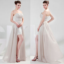 Sexy Strapless Split Pleat High-Low Ball Gown Evening Prom Party Cocktail Dress