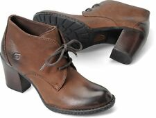 Women's Born High Heel Chukka Lace Up Boot Fina Brown Canoe Leather B44506