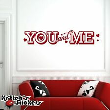 You and Me Vinyl Wall Decal Quote hearts love home decor word art sticker L046