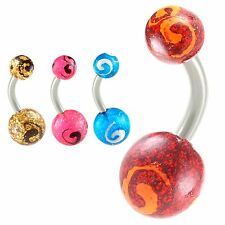Belly ring balls surgical steel navel button ring bar piercing jewelry 2PCs 9CXJ