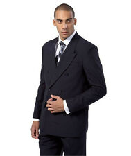 Men's Milano Moda Double Breasted Solid Color Suit 901P Polyester
