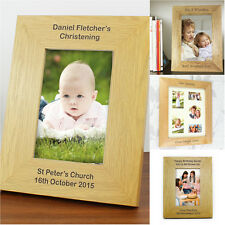 Personalised Brown Wooden Photo Frame Engraved Picture Frames Wedding, Birthday