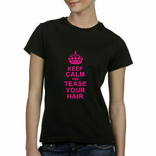 Keep Calm and Tease Your Hair Fitted T Shirt Hair Stylist Beautician Cosmetology