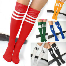 6 COLORS SPORTS ATHLETIC SCHOOL CHEERLEADER TUBE STRIPED KNEE HIGH SOCKS SOCCER