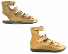 WOMENS STRAPPY BUCKLE LADIES GLADIATOR FLAT SANDALS SUMMER CASUAL SHOES SIZE 3-8