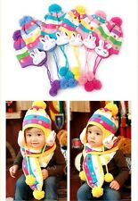 new Baby Kids Girls Magic Stripe Dot With Cute Bunny Hat Scarf Set 6mon--3years