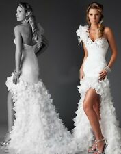 New Hi-Lo Wedding Dresses Gorgeous Bridal Ball Gowns Custom/Standard Size