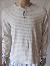 New LUCKY BRAND Mens L/S Beige Grey Stripe Knit Twisted Henley Shirt Top $69