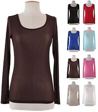 Junior Plain Sheer Mesh See Through Long Sleeve Round Neck Stretch T-Shirts Top