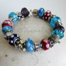 Alice In Wonderland European Charm Bracelet With Turquoise, Red, Purple Beads