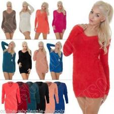 New Womens Ladies Knitted V Neck Fluffy Furry Jumper Dress Top Size 8 10 12 14