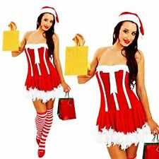 Sexy Miss Santa Claus Christmas Outfit Ladies Fancy Dress Costume M L XL + HAT