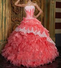 Fashion Lace Quinceanera Dresses Ball Gown Prom Pageant Dress Size Custom