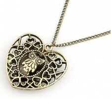 New Lot Fashion Owl Hollow Heart Pendant Bronze Metal Link Necklaces