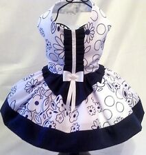 Dog Dress Beautiful White and Navy Flowery Dog Dress with plain Navy Contrast