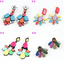 New Lots 12Pairs Mixed Colors Beads Flower Metal Pin Stud Earrings More Styles