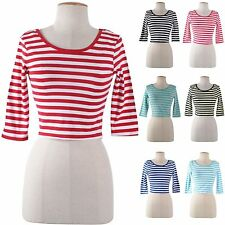 Women Stretch Cropped Top Striped Round Neck 3/4 Sleeve Scoop Back Shirt Top