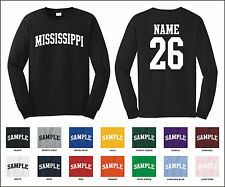 State of Mississippi Custom Personalized Name & Number Long Sleeve T-shirt