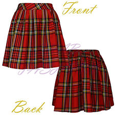 Ladies/Womens Elasticated Waist Tartan Skater Skirt