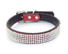 Red Leather Collars Bling Rhinestone Crystal Diamond Pet Dog Cat Puppy Collars