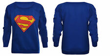 Ladies Womens Superman Superwoman Sweatshirt Jumper Pullover Baggy Top Sweater