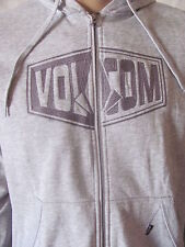 New VOLCOM Mens Grey L/S Embroidered Zip Comp Slim Fleece Hoodie Sweatshirt $55