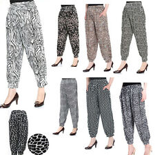 New Womens Ladies Ali Baba Harem Plain Leopard Animal Aztic Print Trousers Pants