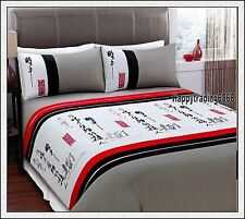 White Stone Black Red 280TC Oriental Embr * KING QUEEN 3pc QUILT DOONA COVER SET