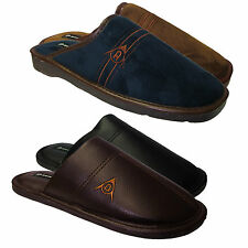 Men's Gents Boys Dunlop Faux Leather / Suede Slip On Mules Slippers Shoes Sizes