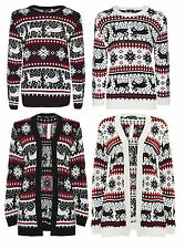 Ladies Men Xmas Fairisle Christmas Retro Novelty Reindeer Knitted Jumper Top