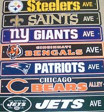 "NFL Football Team Street Sign 4"" x 24"" Flexible Plastic Ave Street Way All Teams"