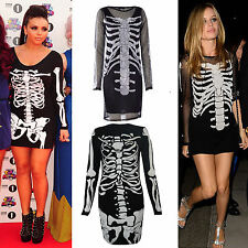 Ladies Women Halloween Skeleton Skull Bone Print Lace Fish Net Black Tunic Dress