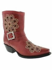 Womens ladies red leather cowboy boots short ankle rhinestone riding biker