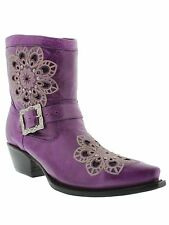 Womens ladies purple leather cowboy boots short ankle rhinestone riding biker