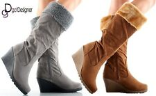 NEW Womens Shoes Knee High Mid Calf Slouch Boots Comfort Casual Flat Round Toe