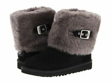 Children's Shoes UGG Australia Kids Ellee Suede Sheepskin Boots Black *New*