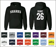 Sharks Custom Personalized Name & Number Adult Jersey Hooded Sweatshirt