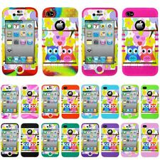 Hybrid Hard Cover for Apple iPhone 4 4S Impact Case Colorful Flowers Cute Owls