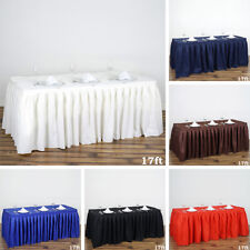 2 pcs 17' POLYESTER PLEATED TABLE SKIRTS Tradeshow Wedding Catering Supplies