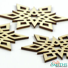 "3x Wooden ""Star"" Baltic Birch Wood Laser-Cut Snowflake Christmas Tree Ornaments"