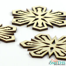 "3x Wooden ""Glowing Star"" Birch Wood Laser-Cut Snowflake Christmas Tree Ornaments"
