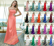 New Simple Full Length Satin Prom Bridesmaids Dresses Evening Party Gown 6-26