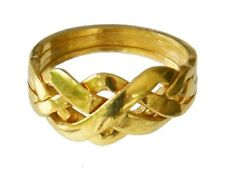 18K YELLOW GOLD OVER STERLING SILVER 4-BAND PUZZLE RING Sizes 5-12 #2577