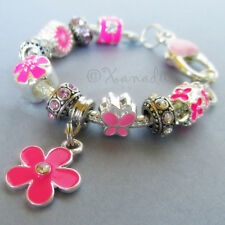 Pink Flower Garden European Charm Bracelet With Pink And Fuchsia Floral Beads