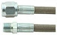 "Steel Braided With 1/8"" NPT Water Oil Fuel Gauge Line  # - 4AN Straight Hose"