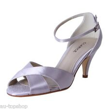 Cheap Clarice Satin Dressy Bridal Shoes Debutante Wedding Shoes Polly Silver