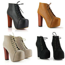 Fashion Women Ladies 4 Color Lita platforms high heels Lace Up boots Ankle shoes