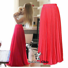 CelebStyle Neon Coral Pleated  Chiffon Full Length Maxi Skirt